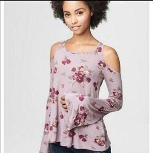 Floral Top w/ Cold Shoulder and Bell Sleeves